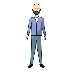 handsome man with beard and elegant wear vector image