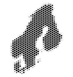 Hexagon halftone scandinavia map vector