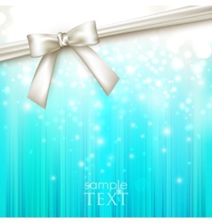 holiday blue background with white bow vector image