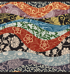 Japanese traditional style fabric patchwork vector