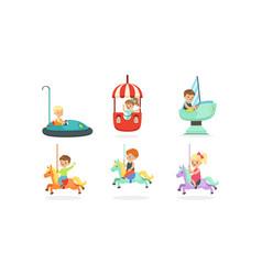 Kids having fun in entertainment park set vector