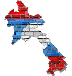 laos map on a brick wall vector image
