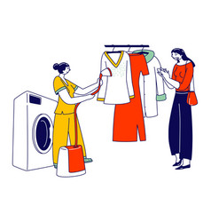 Laundry staff steam off garment at public vector