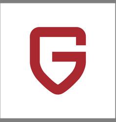 letter g on shield logo vector image