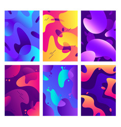 Liquid shapes posters modern color fluid shape vector