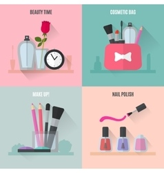 Make up flat icons Square composition banners vector image