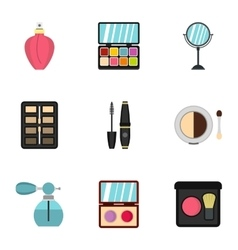 Makeup icons set flat style vector