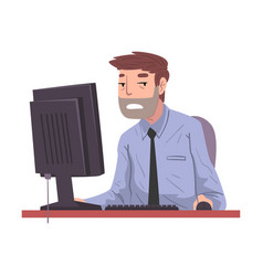 male office worker working overtime overworked vector image