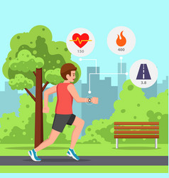 Man running park with heart rate monitor watch vector