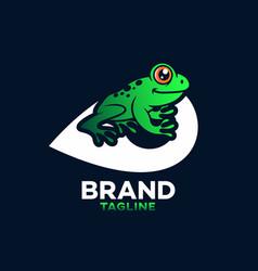 Modern frog on map logo vector