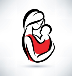 mom and baby symbol vector image