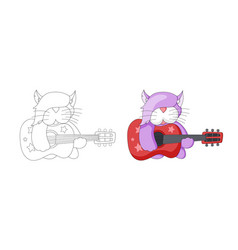 musical cartoon animal childish cat with guitar vector image