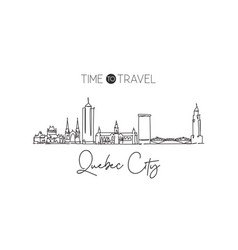 One single line drawing quebec city skyline vector