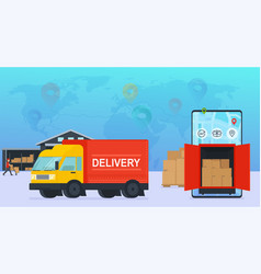 online service delivery goods to warehouse and vector image