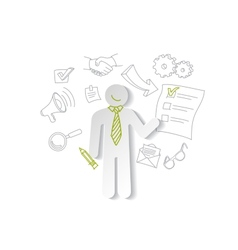 Paper man and cheking list Business concept vector image