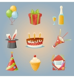 Party Celebrate Birthday Icons and Symbols Set 3d vector