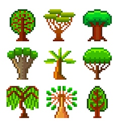 Pixel trees for games icons set vector image