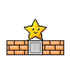pixelated star with bricks wall kawaii icon vector image