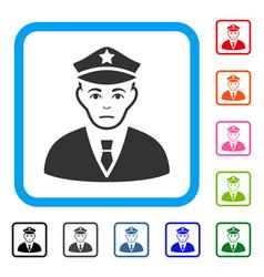 Policeman framed sad icon vector