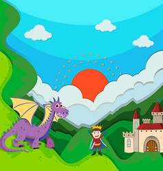 Prince and dragon by the palace vector image