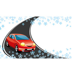Red car on a winter road vector