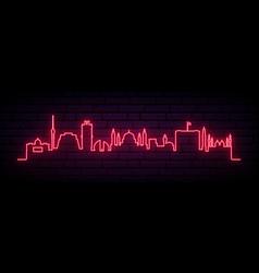 Red neon skyline baghdad bright baghdad city vector
