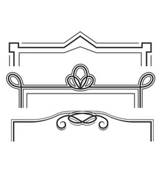 Retro line frames - decorative borders with curls vector
