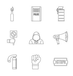 Revolution icon set outline style vector