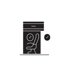scientific workplace black concept ico vector image