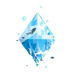 scuba diving print design vector image