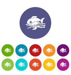 sea food icons set color vector image