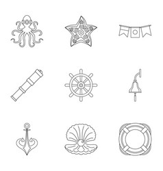 Sea icons set outline style vector