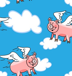 Seamless flying pig pattern vector