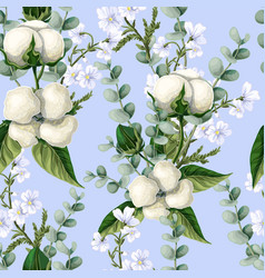 Seamless pattern with cotton flowers eucalyptus vector