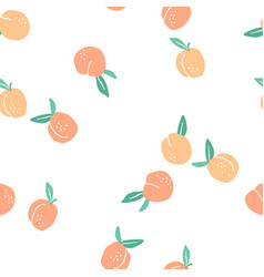Seamless pattern with peaches trendy hand vector