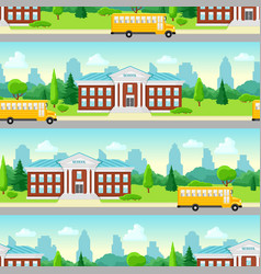 seamless pattern with school building and bus vector image