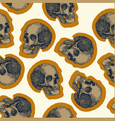 seamless skull pattern beige background vector image