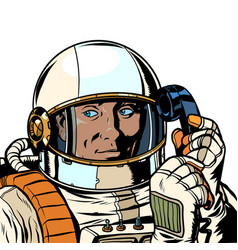 Serious astronaut talking on a retro phone vector