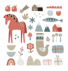set christmas scandinavian animals and natural vector image