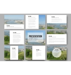 Set of 9 templates for presentation slides Nature vector