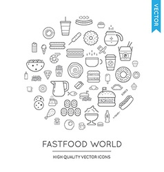 Set of fast food modern flat thin icons inscribed vector