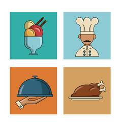 Set of restaurant and food icons vector