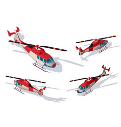 set rescue helicopter for transportation support vector image