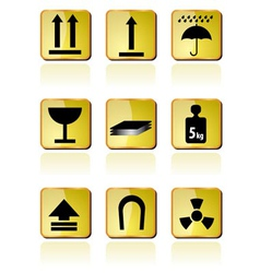 shipping box icon and signs icons vector image vector image