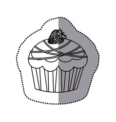 silhouette muffin with chocolate and strawberry vector image