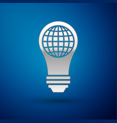 Silver light bulb with inside world globe icon vector