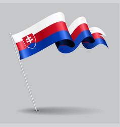 Slovakian pin wavy flag vector