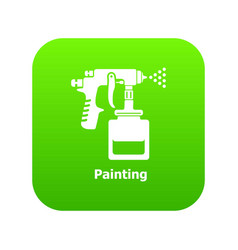 Spray gun icon green vector