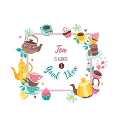 tea square poster vector image