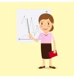 Teacher with whiteboard cartoon character vector